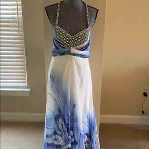 Prom Dress: white with blue flowers and beading